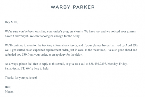 Warby Parker offers awesome customer service